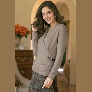 Soft Surroundings Sophisticated Sweater Faux Wrap